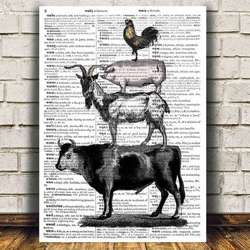 Farm animal art Dictionary print Wildlife print Animal poster RTA989