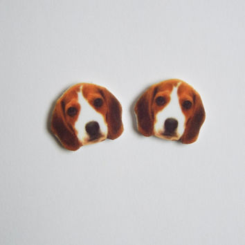 Beagle Puppy Stud Post Earrings Novelty Gift