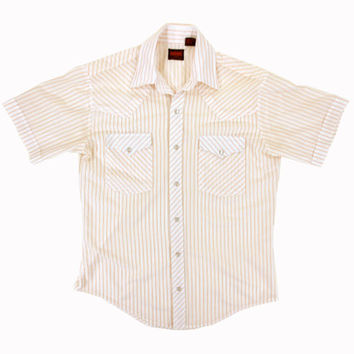 Vintage Western Shirt in White and Orange Stripes - Button Down Striped 80s Country Pearl - Men's Size Small Sm S