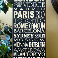 Travel Destinations World Cities Wooden Primitive Sign