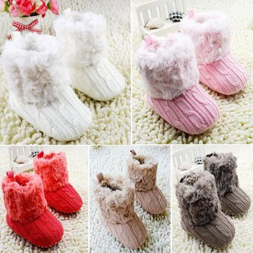 Baby Shoes Crochet knit Fleece Boots Wool Snow winter Booties