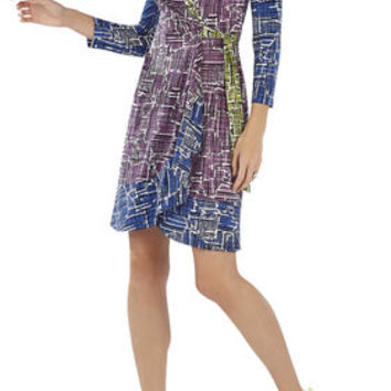 Adele Printed Wrap Dress - Purple