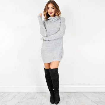 Womens Casual Long Sleeve Sweater Jumper Turtleneck Sweaters Dress Solid long warm sweater winter autumn Robe Pull #555
