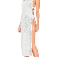 h:ours x REVOLVE Ruby Maxi in White & Silver