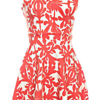 CORAL BROCADE FLARED DRESS