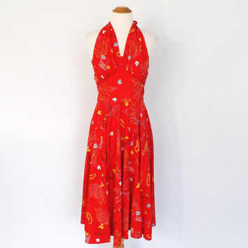 Vintage 1950s Kamehameha Red Hula Girl Novelty Print Cotton Dress 50s Summer Tiki Beach Sun Dress Halter Tea Dress Small Rockabilly Pin up