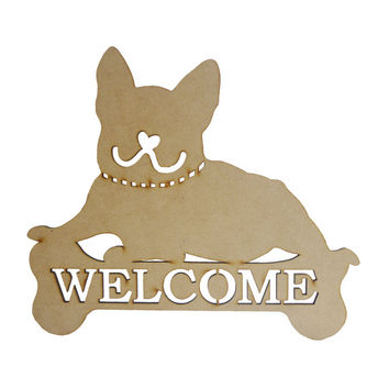 Frenchie French Bulldog Welcome Decoration Hanging on Door or Wall As a Holiday or Festival Decor Banner