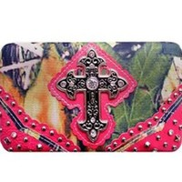 Rhinestone Cross Canvas Camo Flat Wallet Clutch Purse (pink)