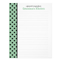 From the Kitchen of Nana Polka Dot Recipe Page Personalized Letterhead