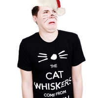 Dan and Phil Whiskers Design T-shirt (Black)