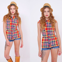 Vintage 60s PLAID Sleeveless Top FITTED Button Down SUMMER Top Hipster Top