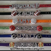 Personalized with Name Bling Sports Team Rhinestone Charm Bracelet