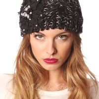 Knit head wrap with bling flower- Black