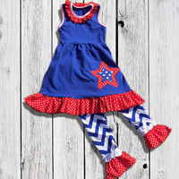 July 4th Chevron Star Ruffled Outfit