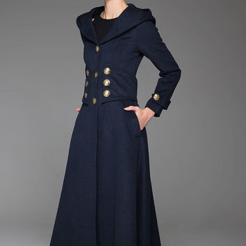 Navy Blue Wool Army Style Coat Winter Long Coat With Bling Buttons Hooded Warm Coat (1420)