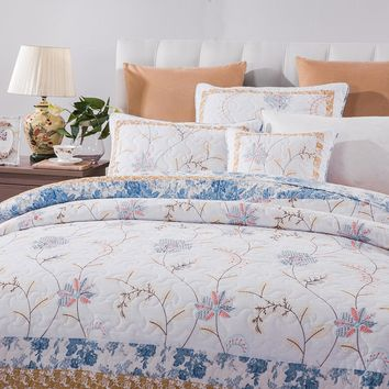 DaDa Bedding Garden Cabana Cotton Embroidered Floral Quilted Bedspread Set (JHW668)