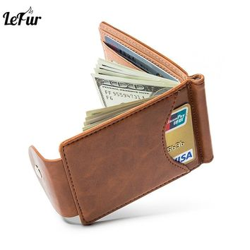 LEFUR Men Wallet High Quality Leather Purse Card Holder Male Fashion Credit Cardholder Money Bag Vintage Small Wallets carteira
