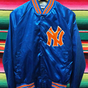 Vintage NY NEW YORK Yankees Jets Chalk Line Made In Usa Satin Soft Bomber Souvenir Flight Baseball Puffer Jacket Starter