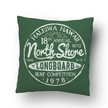 Green North Shore Haleiwa, Hawaii Throw Pillow Case from Surfer Bedding