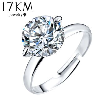 17KM 2016 New Adjustable Big Crystal Ring Silver Color Party Midi bague Love Wedding Rings for Women Luxury Jewellery