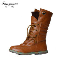 2015  New Arrival Women Mid-calf Boots Lace up Motorcycle Fashion Spring womens boots Big size 34-43