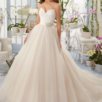 Asymmetrically Draped Bodice with Shoestring Straps onto Tulle Morilee Bridal Wedding Dress | Style 5408 | Morilee