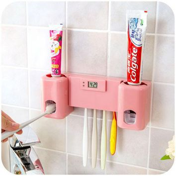ICIK272 Bathroom accessories Products Clock  Automatic Toothpaste Dispenser +Toothbrush Holder Set Wall Mount Rack Bath Oral