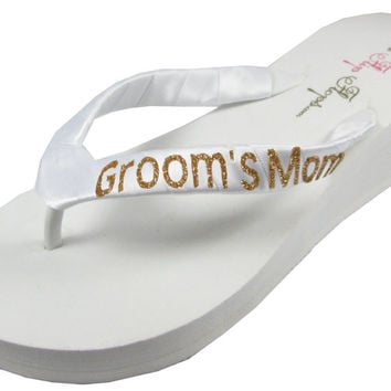 Mother of the Groom Flip Flops- Gold White Ivory Wedges with Silver Glitter - Wedding Flip Flop Sandals-choose heel height