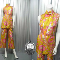 Vintage 60s SAMBO Two Piece Pure Silk Trouser Suit Tunic Top Mustard Yellow Psychedelic Print Pucci Style 1960s Jumpsuit Flared Pants Mod