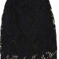 Marni Lace-detail wool and linen-blend skirt - 75% Off Now at THE OUTNET