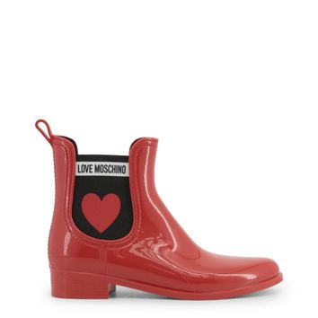 Love Moschino Red Round Toe Ankle Boots