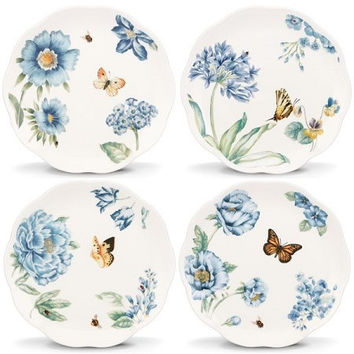 "LENOX Butterfly Meadow® Blue 4-piece 8"" Dessert Plate Set"