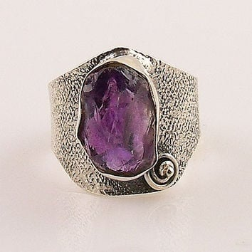 Amethyst Rough Sterling Silver Ring