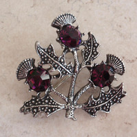Celtic Thistle Brooch Miracle Purple Rhinestones Vintage V0751