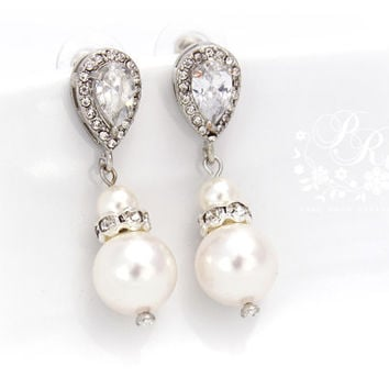 Wedding Earrings Zirconia Swarovski Pearl Earrings Wedding Jewelry Bridal Earrings Bridesmaid Gift Wedding Accessories Zirconia Earrings