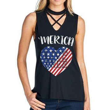 Women Tank Merica Criss-Cross American Flag Heart Printed Tops O-Neck Sleeveless Cropped Top Summer 2017 Girls Casual Loose Sexy