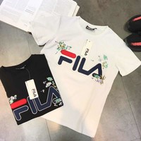 """Fila"" Women Simple Casual Letter Flower Embroidery Short Sleeve T-shirt Top Tee"