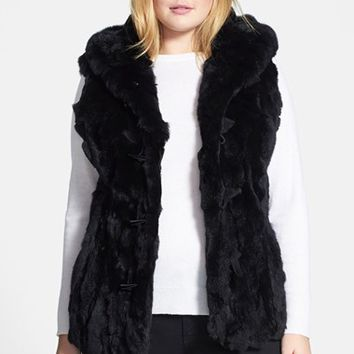 Plus Size Women's Jessica Wilde Genuine Rabbit Fur Toggle Vest,