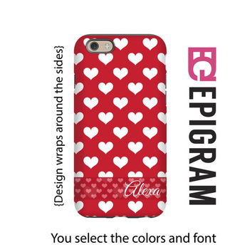 Valentine's Day iPhone case, hearts personalized iPhone case, gift for her, iPhone 4/4s/5/5s/5c/6/6s and 6/6s Plus case, 3D wrap case