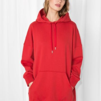 & Other Stories | Oversized Hoodie Dress | Red