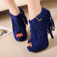 Women Platform Open Toe Side Zipper Tassel High Heel Ankle Strap Solid Shoes