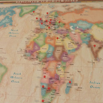 Free Shipping-Vintage Travel World Map-Push Pin World Map-Canvas Anniversary Gift-Graduation Gift-World Explorers-Wanderlust-Handmade-Green
