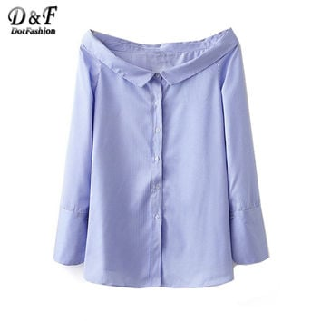 Dotfashion Women's Blue Boat Neck Shirts Work Wear Blue and White Stripe Tops Buttons Front Long Sleeve Blouse