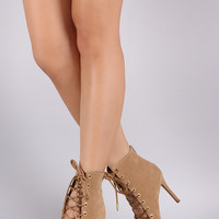 Shoe Republic LA Corset Lace Up Stiletto Booties