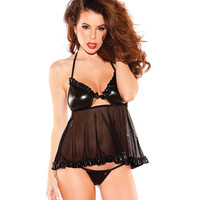 Kitten Wet Look Baby Doll Black O-s