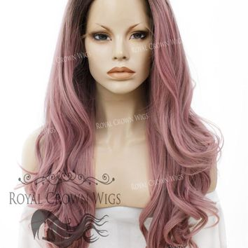 "26"" Heat Safe Synthetic Lace Front ""Constance"" with Curly Texture in Rooted Dusty Rose"