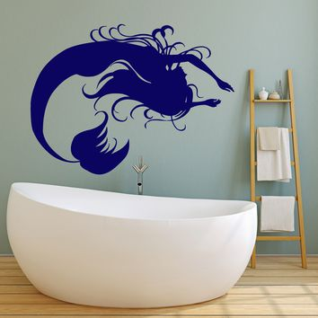 Vinyl Wall Decal Silhouette Mermaid Fairy Tale Children's Room Stickers Unique Gift (2108ig)