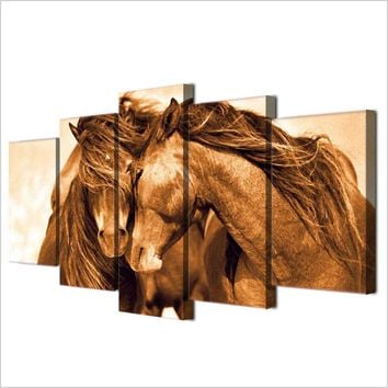 red horse horses wall art canvas panel picture poster Framed UNframed