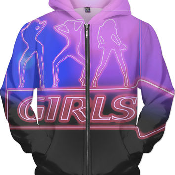Strip club girls neon tee shirt design, hot in purple tones