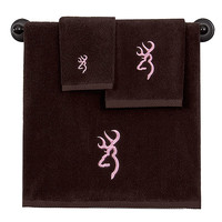 Browning Buckmark Bath Towels - Brown & Pink